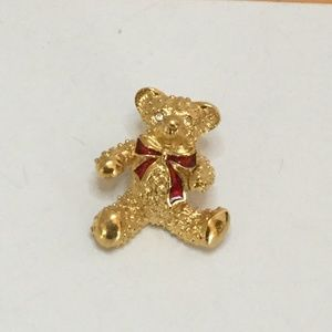 Vintage Adorable Teddy Bear Brooch Red Bow